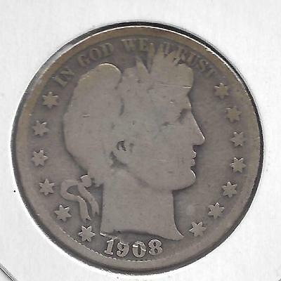 1908 S Barber Half Dollar, nice circulated 90% Silver US coin