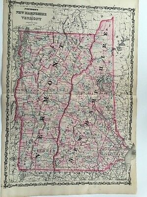 1862 Original Map of New Hampshire and Vermont, Johnson and Ward