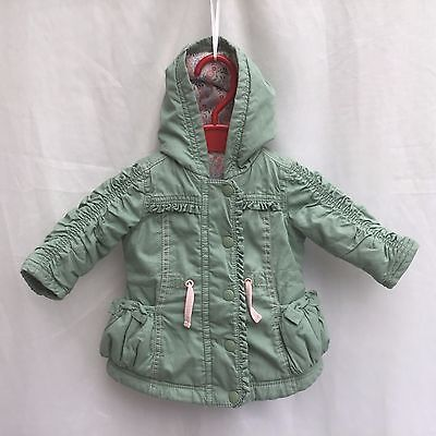 BABY GIRLS GREEN COTTON LIGHTLY PADDED HOODED COAT JACKET AGE 0-3 Months H.56-62