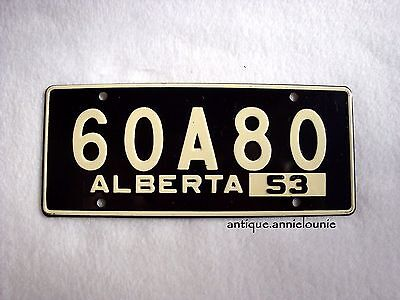 1953 ALBERTA Wheaties Cereal License Plate # 60A80