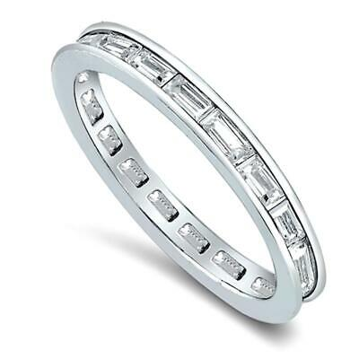 .50 TCW .925 Silver CZ Baguette Stackable Eternity Bridal Ring Band Size 4-10