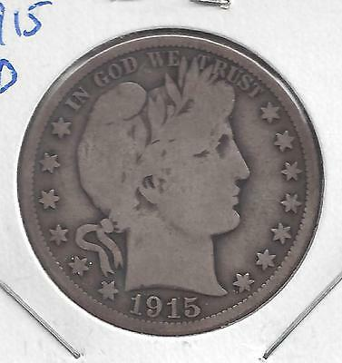 1915 D Barber Half Dollar, nice circulated 90% Silver US coin