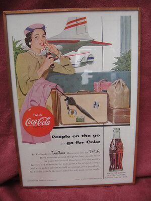1954 Coca Cola Coke ad foil glass framed lady Thailand airplane travel bottle