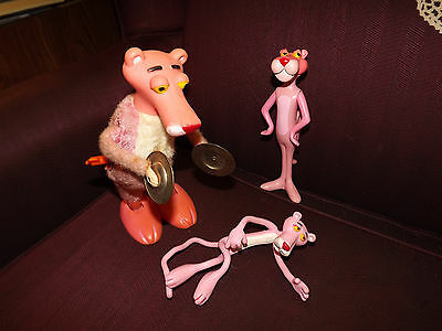 3 Pink Panther's 1971 Dakin, 1988 Jesco bendable and 1980's Illco windup playing