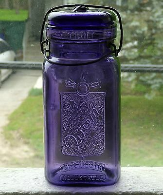 Antique quart size QUEEN purple fruit canning jar Boston FREE SHIPPING!