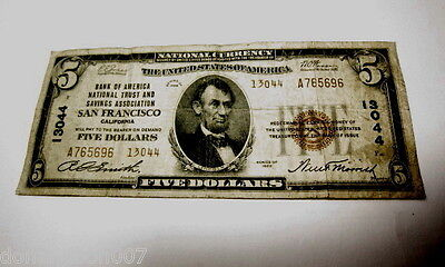 $5 San Francisco Ca Bank America National Trust Currency 1929 #13044