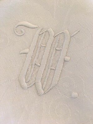 Vtg Wedding White Monogrammed Napkins W Set of 12  Damask Callalily Pattern