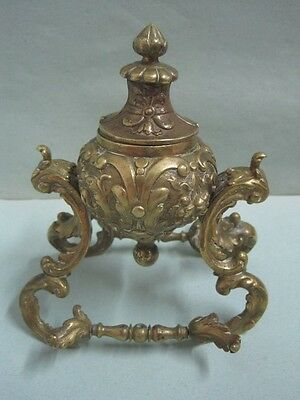 Antique ink well inkstand in bronze with pen holder