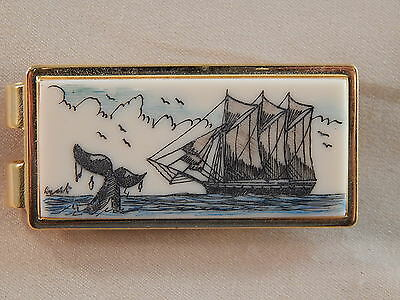 Scrimshaw  Resin  Money Clip Gold - Schooner & Whale Tail colored
