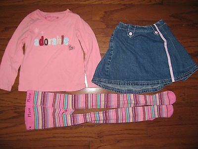 Girls Gap ADORABLE shirt top K Hdquarter skirt TCP tights outfit LOT size 4 4T 5