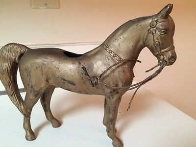 Equestrian Antique/Vintage Cast Iron Metal HORSE Statue Figurine Painted
