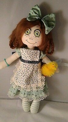 Handmade, Cloth Rag Doll, Lucinda, 14 Inc, OOAK, Collectable by Bianca