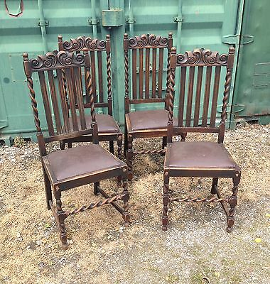 Set Of 4 Antique Edwardian Heavy oak dining chairs