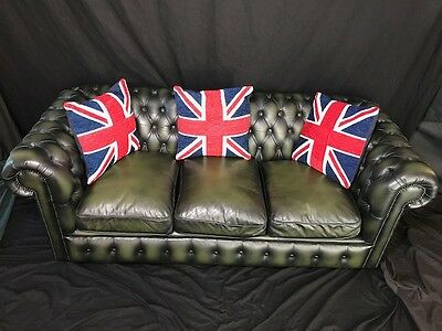 Traditional Handmade Chesterfield 3 Seater Balmoral Bottle Green Leather Sofa