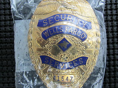 Vintage Wells Fargo Security Services Shield Badge Collectible Officer Police