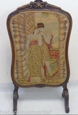 Vintage Antique Needlepoint Firescreen Floral Carved Frame