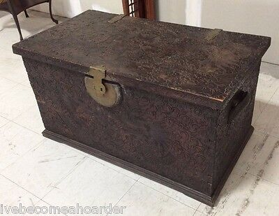 Great Vintage Carved Chinese Lift Top Blanket Chest Storage Trunk W Dragons