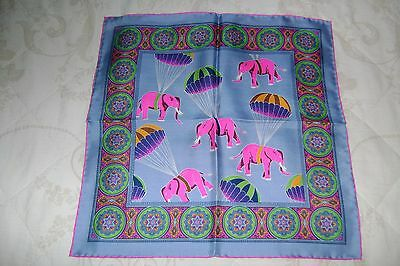 """Hand made silk pocket square 16"""" hand rolled elephants & hot air balloons blue"""