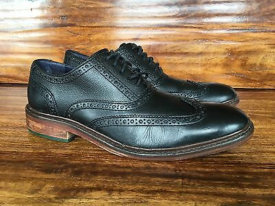 Men's Cole Haan Wing Tip Lace Up Dress Shoes Black Leather 9.5 M