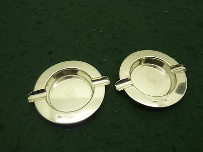 Pair of 75mm HM 1924 Solid Sterling Silver Hukin & Heath Ashtrays Monogrammed JM