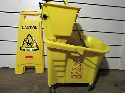 """Rubbermaid Bucket w/ Side Press Wringer, """"Caution"""" Sign, and Mop"""