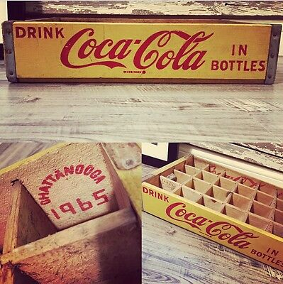 Vintage 1965 Yellow Coca Cola In Bottles Coke 24 Divider Crate Near Mint Shape!