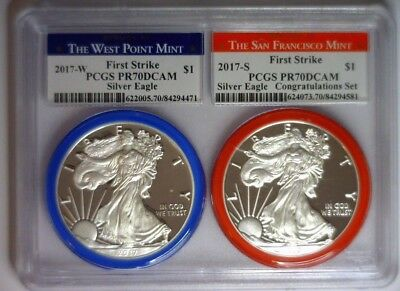2017 S & W PCGS PR70 PROOF Silver Eagle First Strike 2 coin set DOUBLE HOLDER!