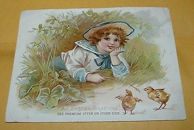 """~Victorian~""""lion Coffee""""~Easter~Trading Card~""""woolson Spice Co""""~Boy W/ Chick's""""~"""