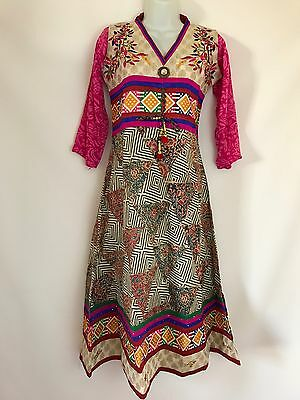 $14.99 Jaipuri Ethnic  Bollywood Indian Dress kurta Anarkali dress size 36 Small