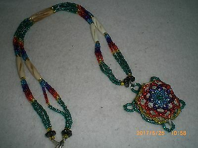 Beaded Native American Sioux Sage Filled Turtle Necklace                 bnl1 jl