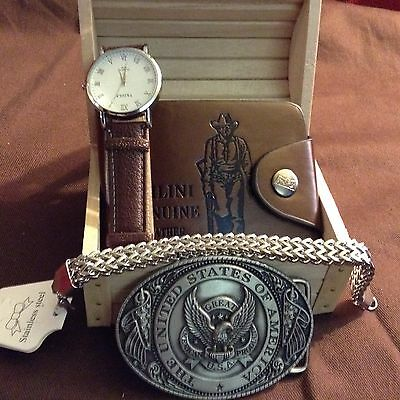 Father's Day Cowboy Combo Gift Box Set, includes wallet, watch & belt buckle.