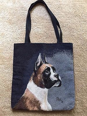 Beautiful large BOXER Dog tote bag - embroidered-style design