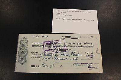 1953 Barclays Bank (Dominion, Colonial and Overseas) Revenue stamp on back check