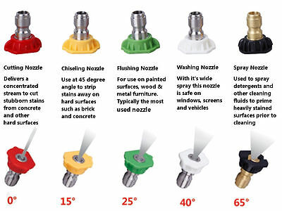 Pressure Washer Nozzles - Set of 5 - up to 4000psi (9 to 16hp) - 045 Tip Size