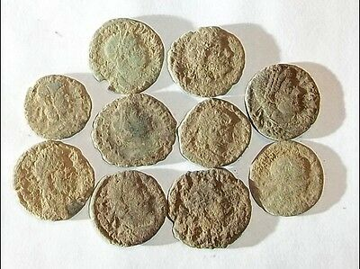 10 ANCIENT ROMAN COINS AE3 - Uncleaned and As Found! - Unique Lot 14502