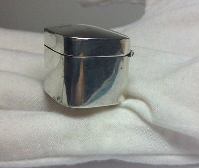 """Vintage Solid Sterling Silver Ice Cube Shaped & Size Pill Box Trinket Box Sz 1"""""""