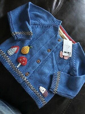 Next Baby Knitted Toadstool Woodland Hedgehog Blue Cardigan 9-12m