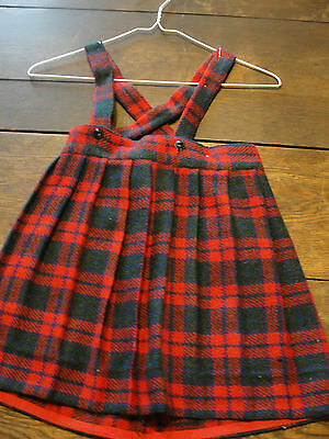 True Vintage Girls Red Plaid Wool Jumper