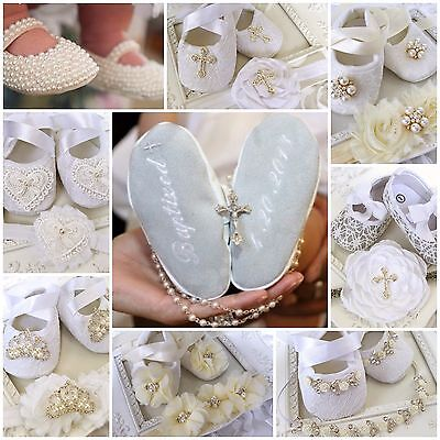 Baby Girl White Ivory Christening Baptism Shoes Headband Set Rhinestone Wedding