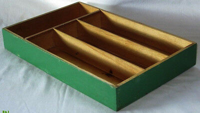 *Vintage WOODEN Painted DRAWER*Repurpose TRAY Wood HOLDER*Finger JOINTED Box*NR*
