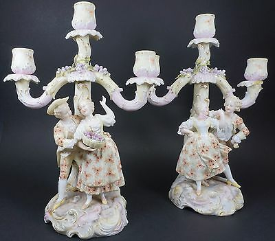 Antique VOLKSTEDT German Porcelain Candelabra Candle Sticks 19th Century - AS IS