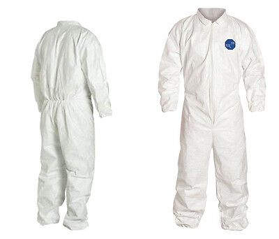 25 Dupont Collared Coverall Suit Elastic Cuff M Tyvek 400 TY125SWHMD002500