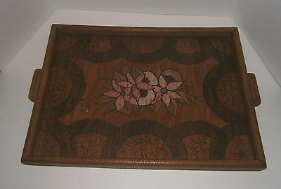Vintage 1946 Hand Carved Handmade Wooden Serving Tray