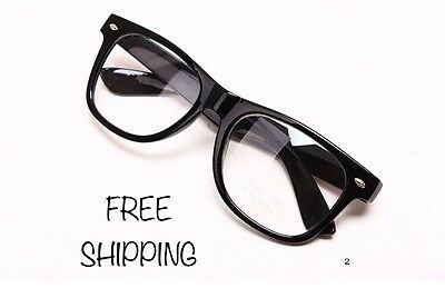Clear Lens Black Frames Wayfare Glasses Designer Fashion Nerd Geek Mens Women's