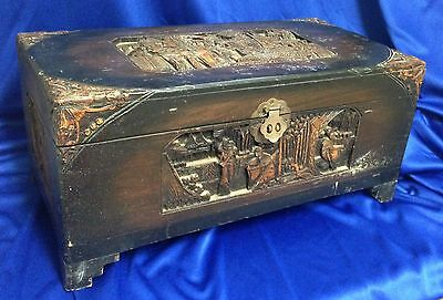 "Shirley Temple Black Estate: Chinese Carved Camphor Wood Box Chest 21""W COA incl"