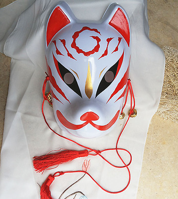 Japanese fox hand-painted Halloween costume Masquerade cosplay mask Confused