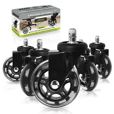 "Rollerblade Office Chair Wheels 3"" - Set of 5 Black by Slipstick"