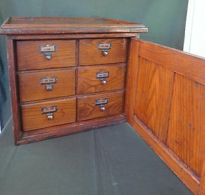 Antique Oak 6 Drawer Library Card Catalog File Cabinet - Keystone Stereoview
