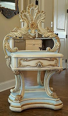 """VTG FRENCH LOUIS XV ROCOCO 50""""  MIRRORED TABLE CHEST NIGHTSTAND BLUE GOLD 1of 2"""