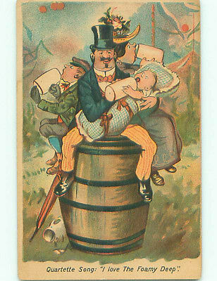 Unused Pre-Linen comic TEMPERANCE - MAN SITS ON CAKE AND FEEDS BABY k3537